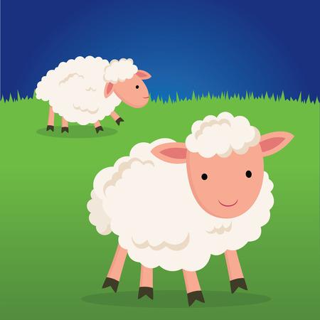 Cute sheep smiling. Cute little lamb on green grass.