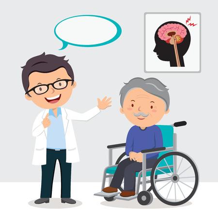 Doctor and elderly man in wheel chair Иллюстрация