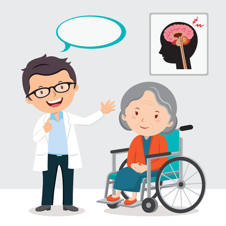 Doctor and elderly woman in wheel chair