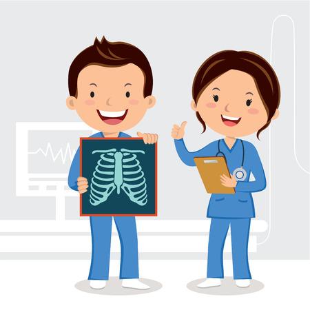 Doctors holding x ray film