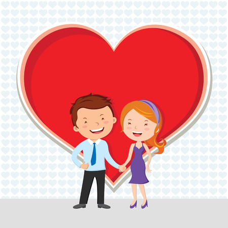 Young couple in love. Vector illustration of young lovely couple with heart shape symbol.