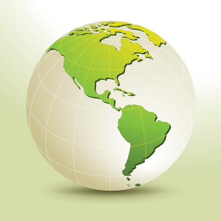 Global, Vector illustration of Global map in America Continent view. 矢量图像