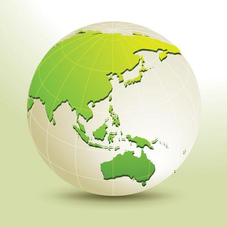 Global, Vector illustration of Global map in Oceania view. Иллюстрация
