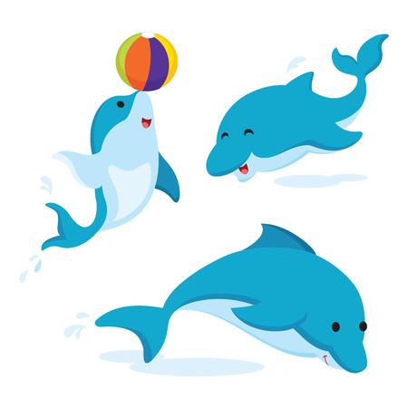 lindos delfines Ilustración de vector
