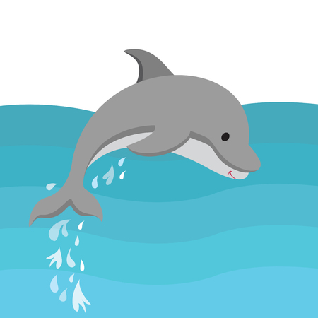 dolphin jumping out of the water Illustration
