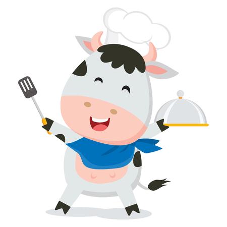 Cute cow chef Иллюстрация