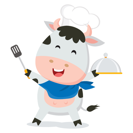 Cute cow chef 矢量图像
