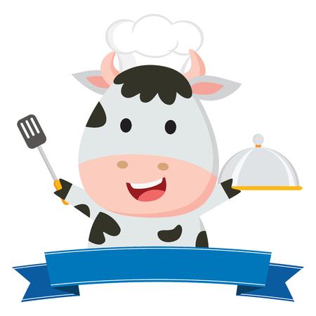 Cute cow chef vector