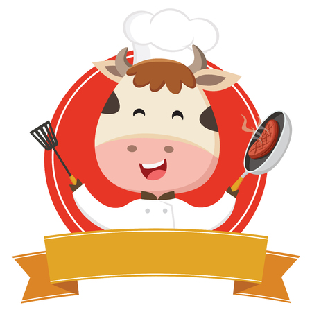 Cute cow chef cooking