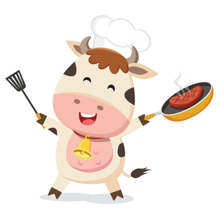 Cute cow chef 向量圖像