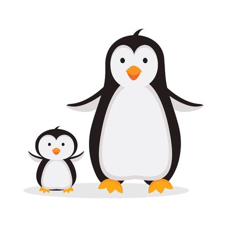Madre pingüino con ilustración de pingüino bebé aislado en blanco Ilustración de vector