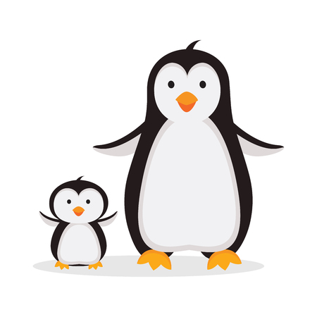 Mother penguin with baby penguin illustration isolated on white