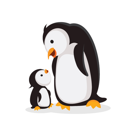 Mother penguin and baby penguin bonding time