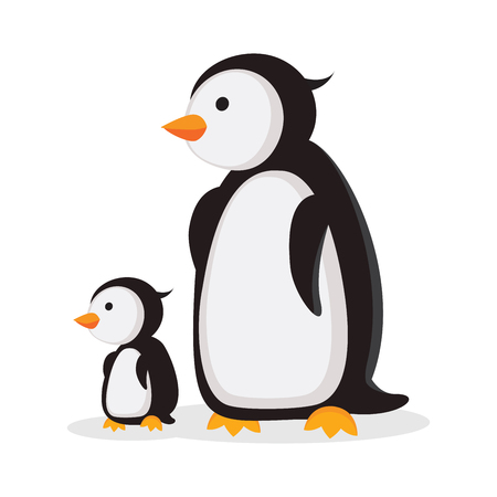 Mother penguin and baby penguin  イラスト・ベクター素材