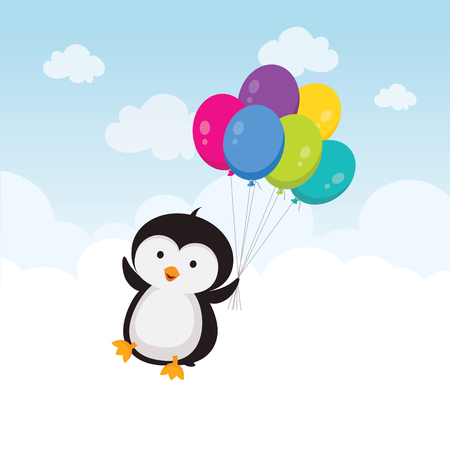 Little penguin with balloons illustration isolated on white