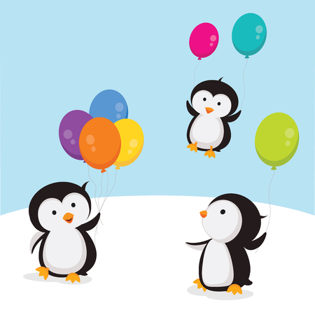 Little penguins with balloons illustration isolated on white