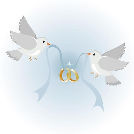 Palomas de boda con anillos, símbolo del amor y la boda.