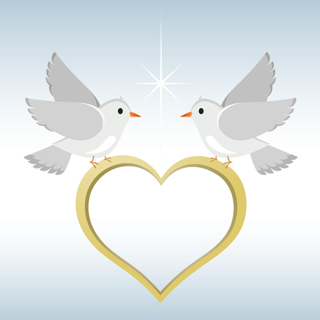 Doves with heart shaped