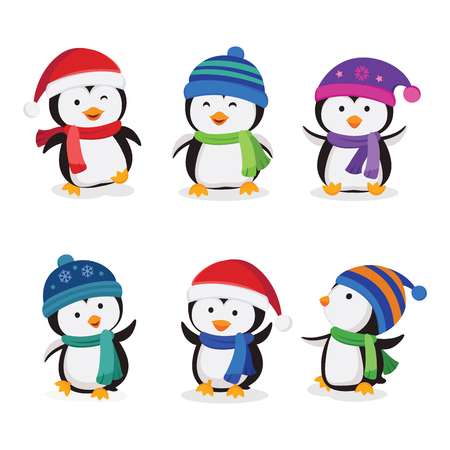 Christmas penguins vector isolated