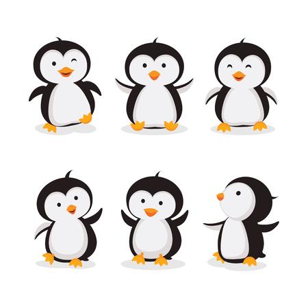 Little penguins illustration isolated on white 矢量图像