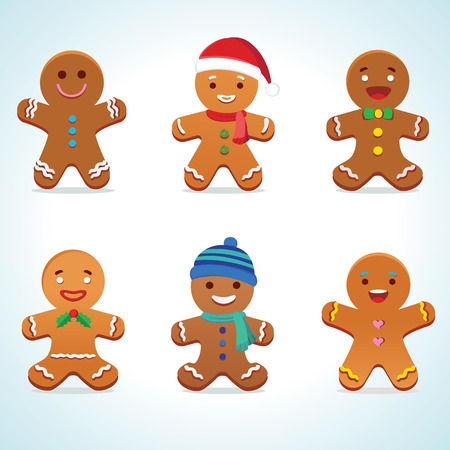 Gingerbread man illustration isolated on white Vectores