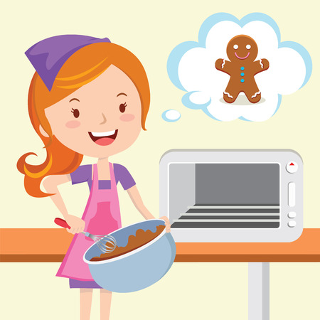 Young woman baking gingerbread  イラスト・ベクター素材