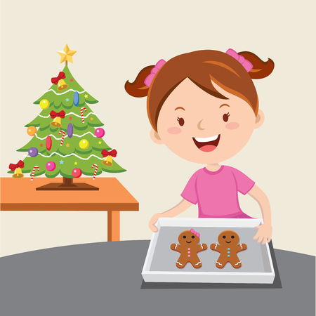 Little girl baking gingerbread
