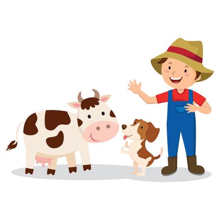 Farmer with farm animals