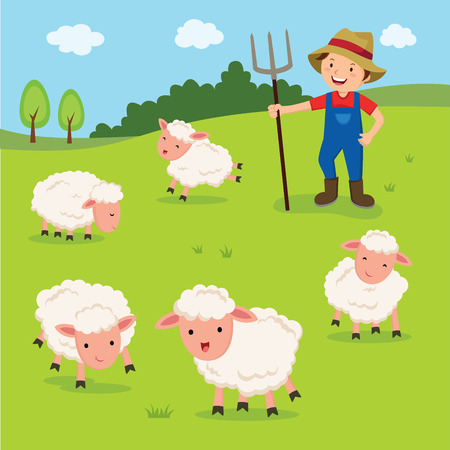 Farmer and sheep vector