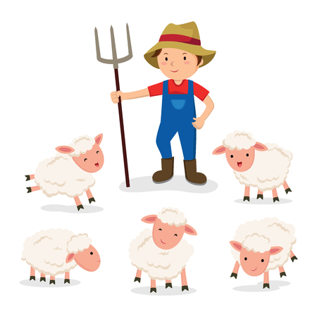 Farmer and sheep vector 矢量图像