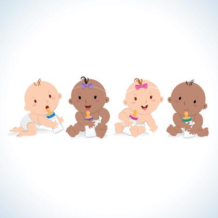 Bébés mignons et bouteilles de lait. Illustration vectorielle de bébés multiculturels avec des bouteilles de lait.
