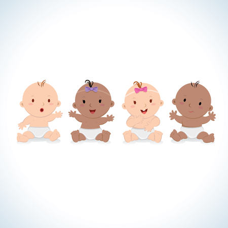 Happy babies vector