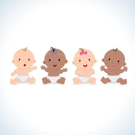 Vecteur de bébés heureux