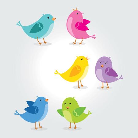 Collection of cute birds vector
