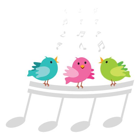 Canto degli uccelli. Illustrazione vettoriale di tre uccellini che cantano allegramente con note musicali Vettoriali