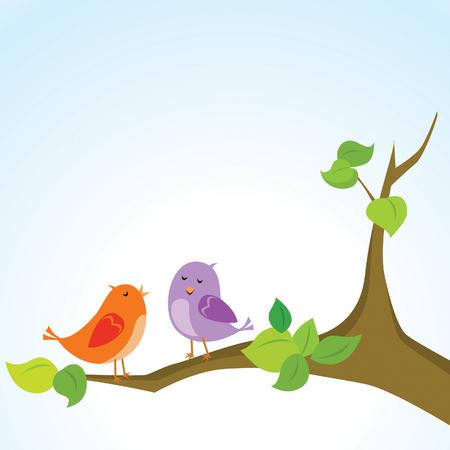 Cute birds on tree branch