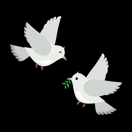 Vector illustration of a pair of doves