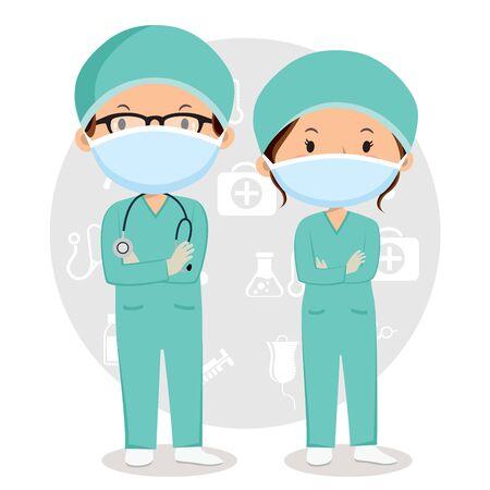 Doctors wearing masks 矢量图像