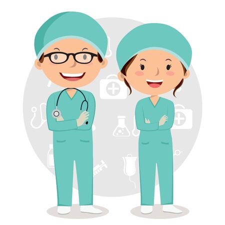 Vector Illustration of doctors with medical icons