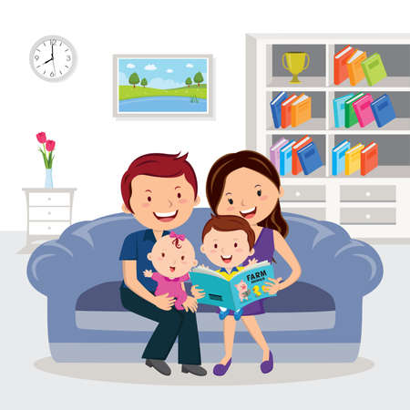 Parent and children reading books