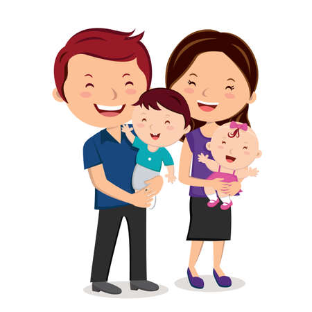 Happy family smiling. Cheerful family portrait.  イラスト・ベクター素材