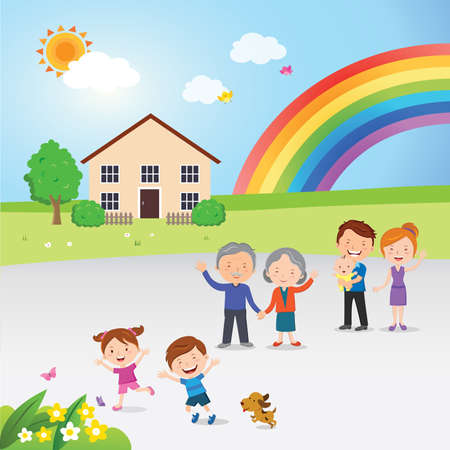 Vector illustration of happy family and rainbow