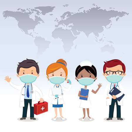 Vector illustration of medical team 矢量图像