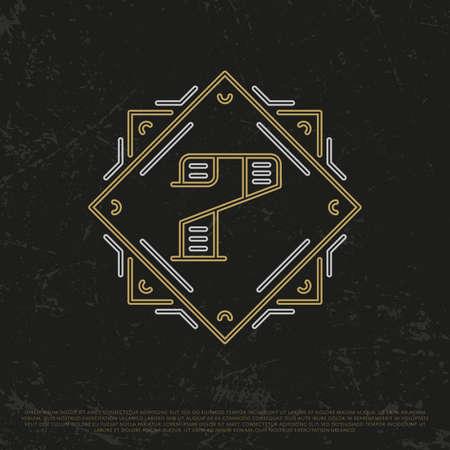 seventh: Vector Gold Number 7. Sign Seven. Seventh monogram