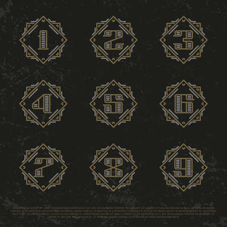 currency glitter: Vector Numbers. Royalty Gold Signs. Monogram eps Symbols set