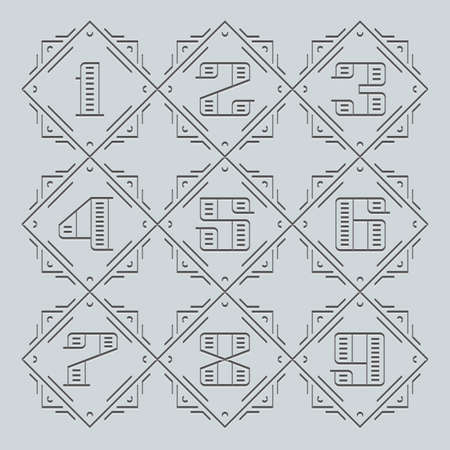 currency glitter: Vector Numbers. Line Signs. Monogram eps Symbols set