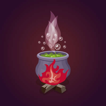 wicked set: Vector cauldron with colorful witches magic potion. Fire and smoke,