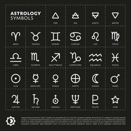 Vector Astrología Signos del zodíaco. Planeta del sistema solar. Cuatro elementos