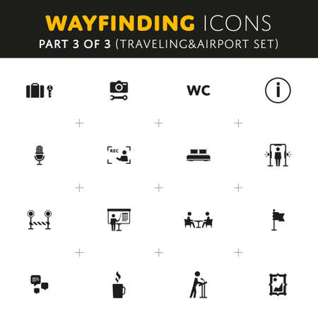 rec: Vector Wayfinding Icons Traveling and Airport Part of Set