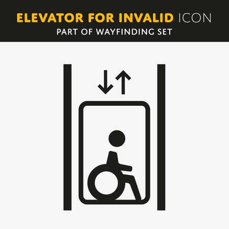 Disability homme pictogramme icône plat ascenseur isolé sur fond blanc
